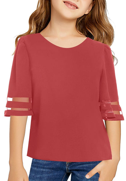 Front view of model wearing dark coral pink 3/4 bell mesh panel sleeves girl top