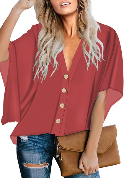 Dark Coral Pink V-Neckline Button-Up Loose Kaftan Top
