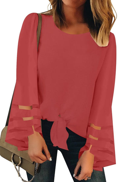 Front view of model wearing dark coral pink long bell mesh panel sleeves tie-front loose top
