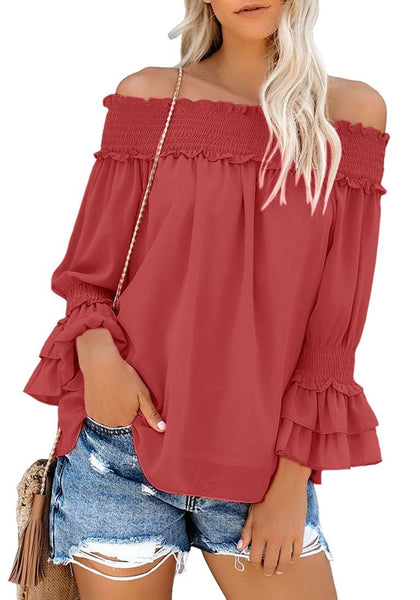 Front view of model wearing dark coral pink off-shoulder ruffle bell sleeves blouse