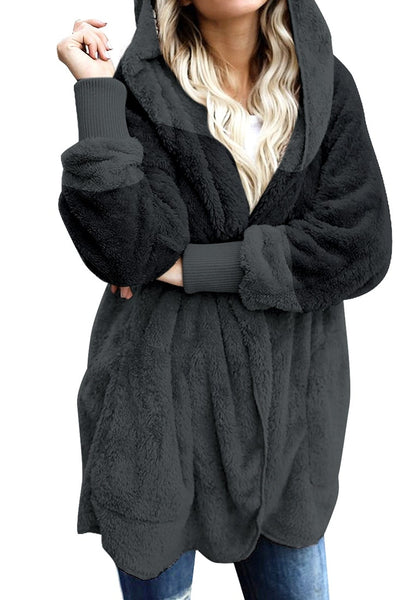 Front view of model wearing dark grey color block hooded fleece cardigan