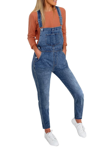 Front view of model wearing deep blue skinny denim bib overall jumpsuit