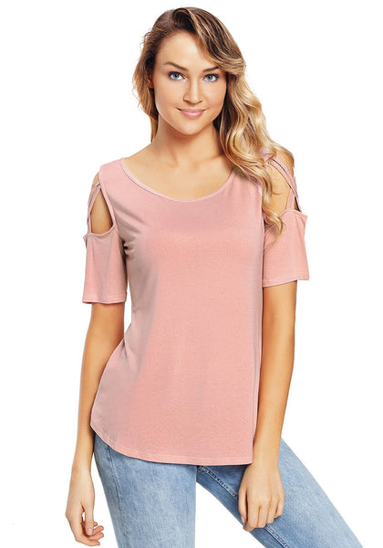 Front view of model wearing deep blush crisscross cutout shoulder blouse