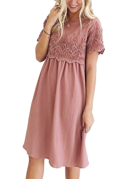 Front view of model wearing deep blush hollow out lace keyhole-back shift dress