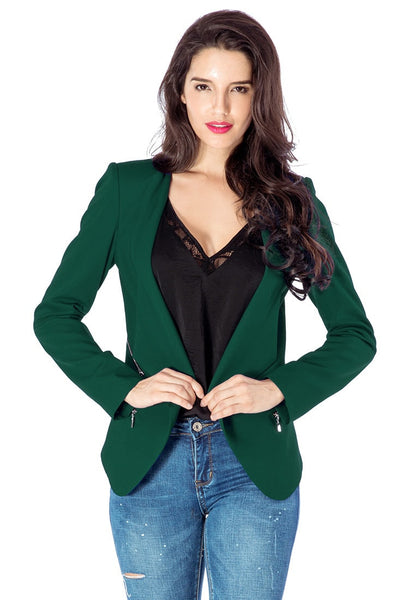 Front view of model wearing deep green draped blazer