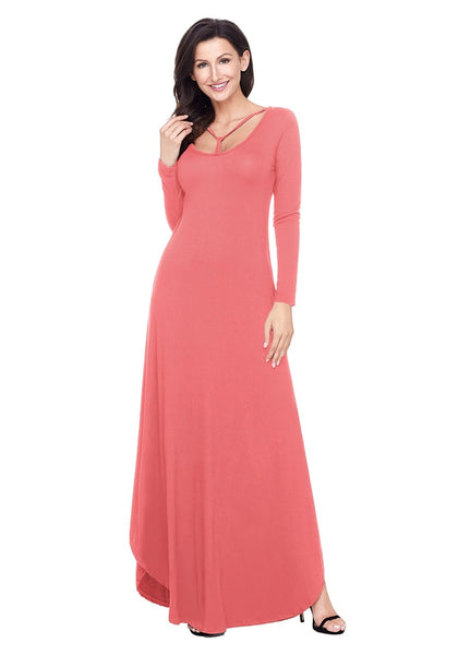 Front view of model wearing dusty coral T-front long sleeves maxi dress