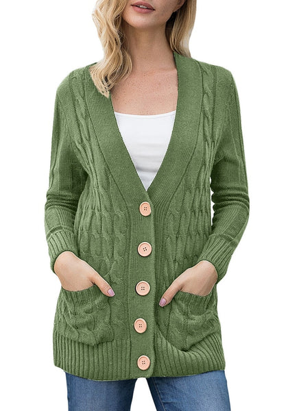 Green Button Up Cable Knit Sweater Cardigan Lookbook Store