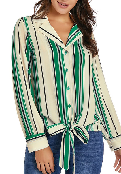 Green Long Sleeves Tie Front Striped Button-Up Top