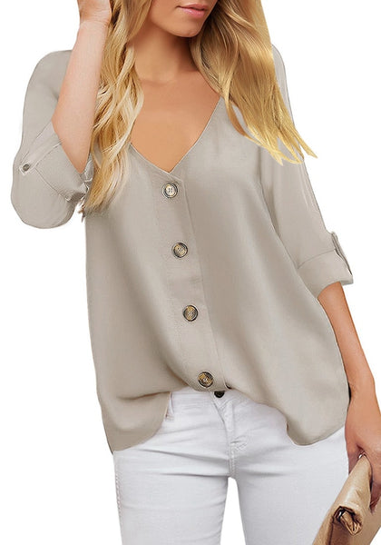Light Grey V-Neckline 3/4 Cuffed Sleeves Button-Up Loose Top