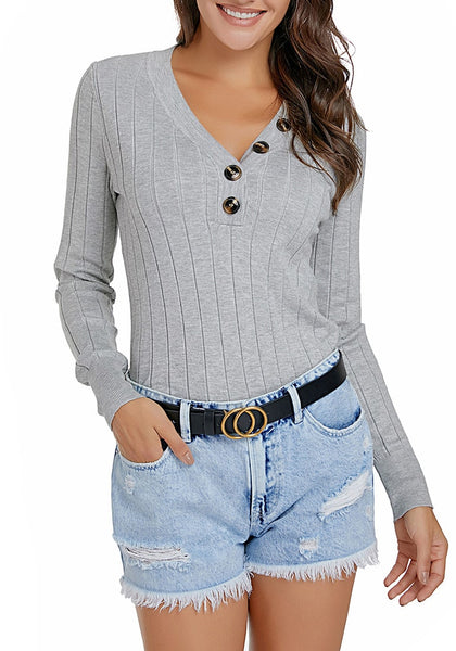 Front view of model wearing grey V-neckline buttons ribbed knit pullover top