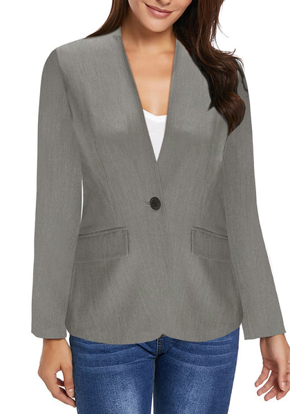 Front view of model wearing grey V-neckline single button blazer