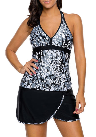 Grey and White Abstract Print V-Front Halter Tankini Set