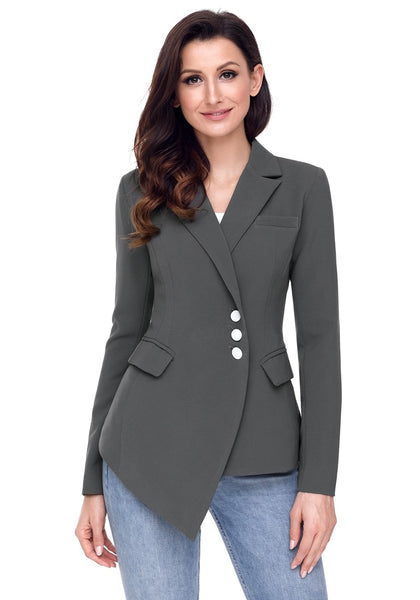 Front view of model wearing grey asymmetrical side buttons blazer