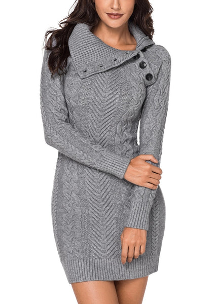 Front view of model wearing grey cable knit split cowl neck sweater dress