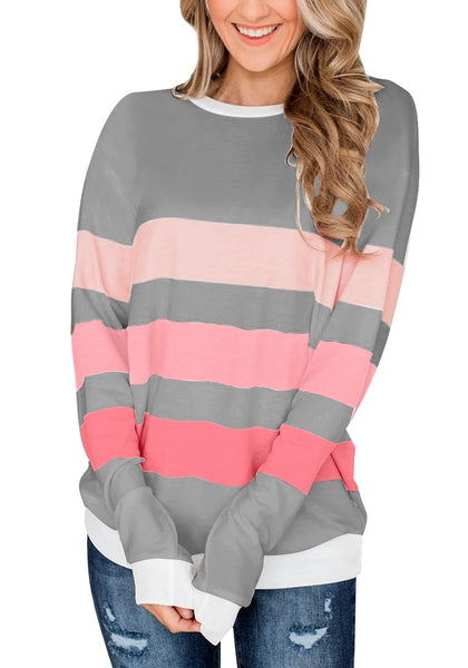 Front view of model wearing grey color block striped pullover sweatshirt