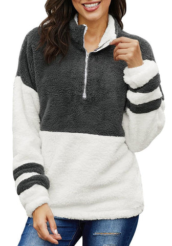 Grey Colorblock Half-Zip Fuzzy Fleece Pullover
