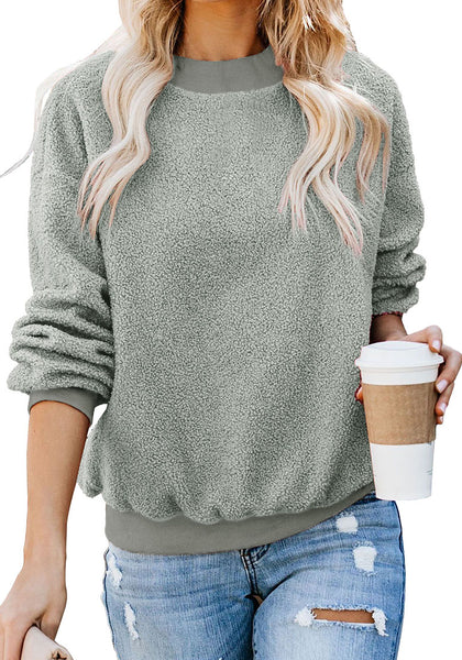 Front view of model wearing grey crewneck terry cashmere pullover sweatshirt