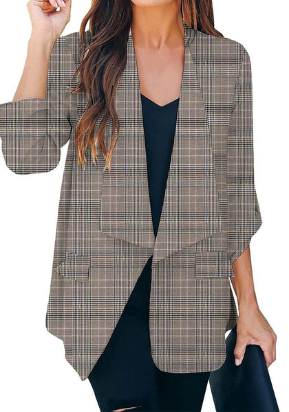 Choose to be chic and fab even on a busy working day as you wear this grey cuffed sleeves open-front draped plaid blazer over your dress and stilettos.