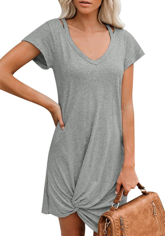 Grey Cutout V-Neck Twist Knot Hem T-Shirt Dress
