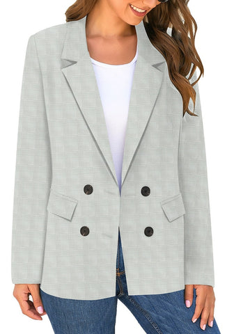 Grey Double-Breasted Flap Pockets Plain Notch Lapel Blazer