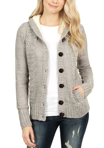 Grey Fleece Cable Knit Hooded Sweater Cardigan Lookbook Store