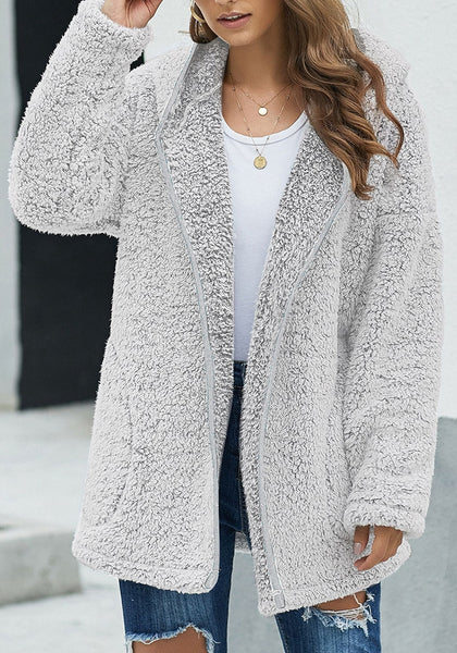 Front view of model wearing grey fuzzy fleece hooded open-front oversized coat