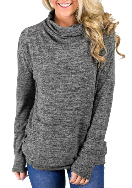 Front view of model wearing grey kangaroo pocket cowl-neck heathered pullover top