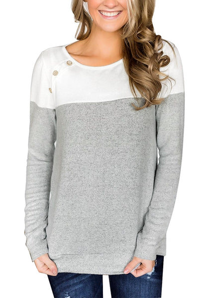 Front view of model wearing grey long sleeves buttons colorblock pullover sweatshirt
