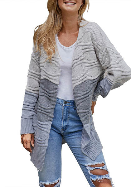 Front view of model wearing grey long sleeves colorblock textured sweater cardigan
