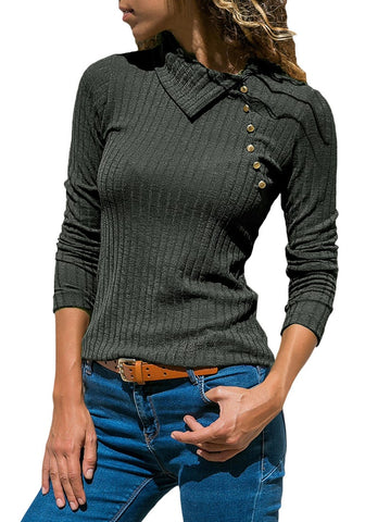 Grey Long Sleeves Split Cowl Collar Ribbed Knit Top