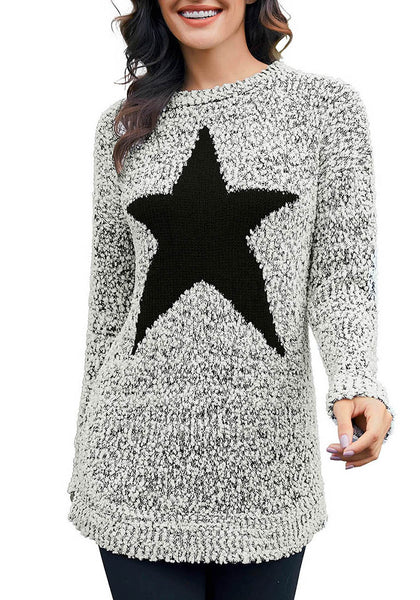 Front view of model wearing grey melange popcorn fleece star pullover