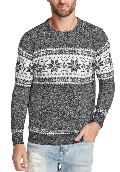 Front view of model wearing grey melange snowflake men's Christmas sweater