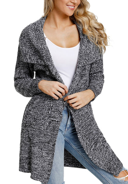 Front view of model wearing grey open-front wide collar knit sweater cardigan