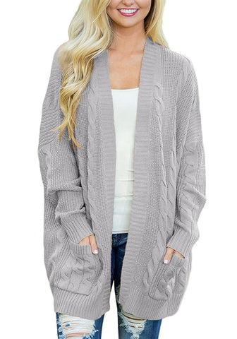 Grey Ribbed Cable Knit Oversized Cardigan