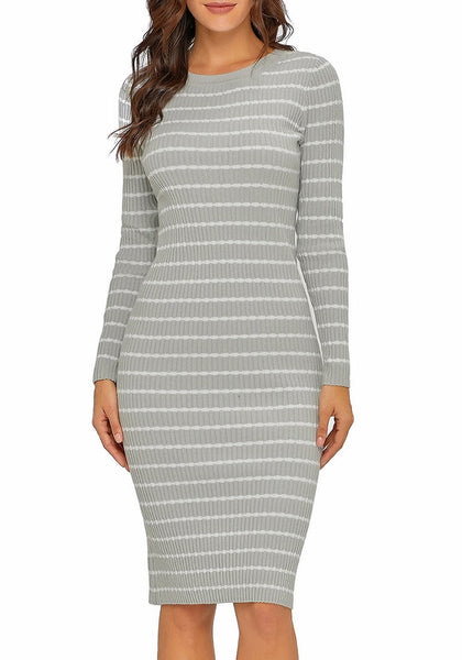 Front view of model wearing grey ribbed knit striped bodycon dress