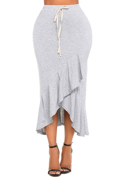 Grey Ruffle Asymmetrical Hem Long Bodycon Skirt