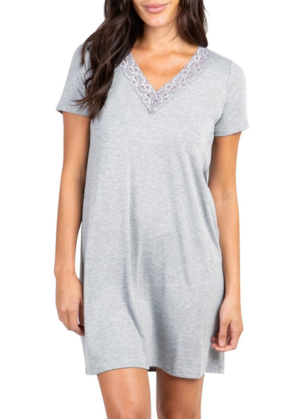 Front view of model wearing grey scallop lace-trim V-neck night dress
