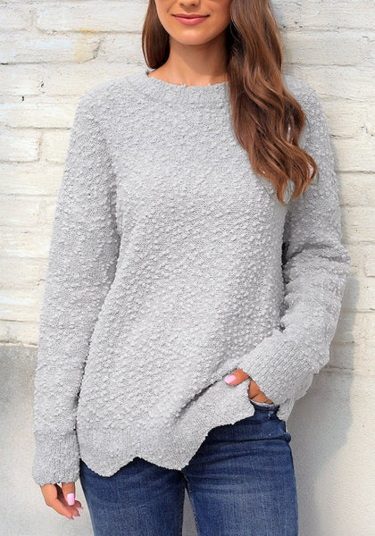 Grey Scalloped Hem Fleece Knit Pullover Sweater