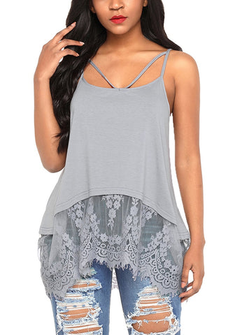 Grey Sheer Lace-Hem Strappy Blouse