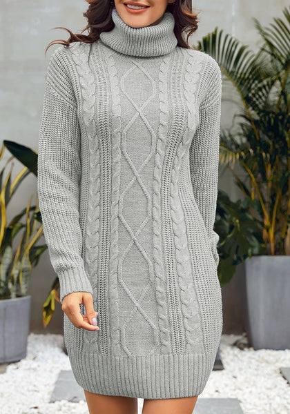 Front view of model wearing grey turtleneck cable knit pullover sweater dress
