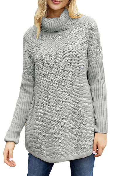 Front view of model wearing grey turtleneck ribbed knit pullover sweater