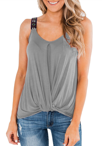 Front view of model wearing grey twist knot embroidered straps tank top