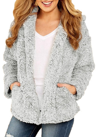 Grey Zip-Up Oversized Faux Fur Hooded Jacket