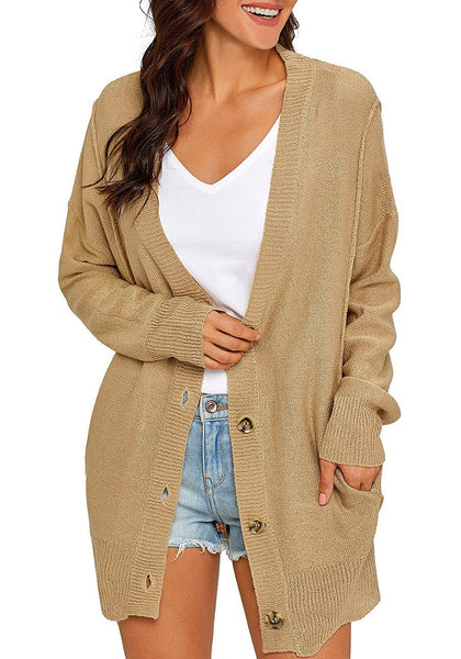 Front view of model wearing khaki button-up side-pocket knit boyfriend cardigan