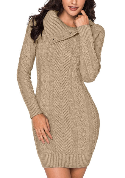 Front view of model wearing khaki cable knit split cowl neck sweater dress