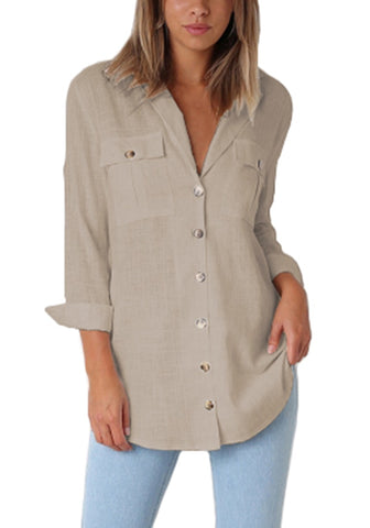 Khaki Long Cuffed Sleeves Lapel Button-Up Blouse