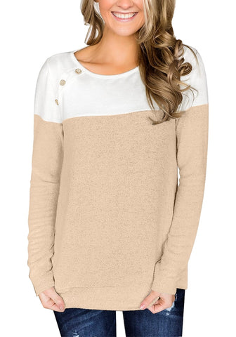 Khaki Long Sleeves Buttons Colorblock Pullover Sweatshirt
