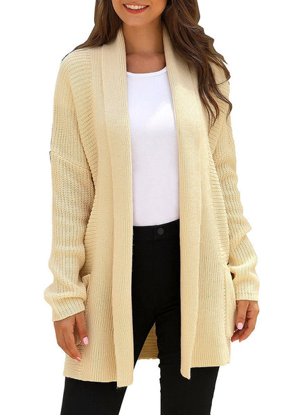 Front view of model wearing khaki open-front draped ribbed knit long cardigan