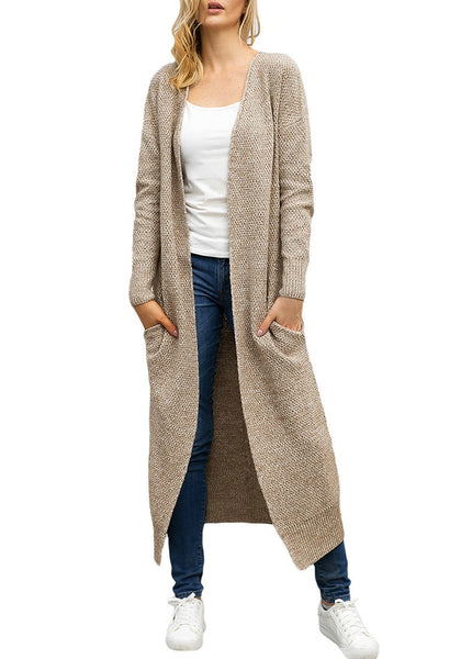 Front view of model wearing khaki open-front maxi knit cardigan