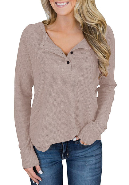 Front view of model wearing khaki waffle knit pullover henley top